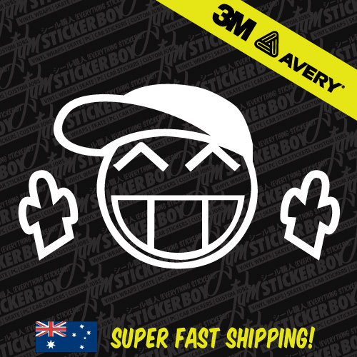 Precision Turbo Decal: SMILEY CAP JDM Car Sticker Decal Car Drift Turbo Euro Fast