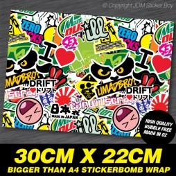 Stickerbomb Green A4 Plus Size - 220mm x 300mm
